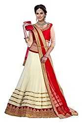 Ishin Georgette Net Party Wear Embellished Cream & Red Lehenga