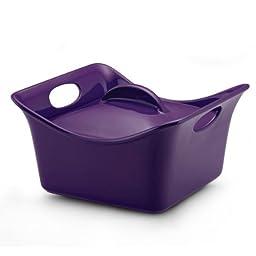 Rachael Ray Stoneware 3.5-Quart Covered Square Cassersquare Casserole, Purple
