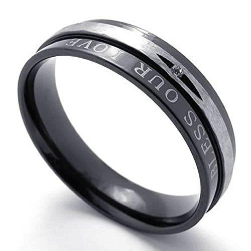 AnaZoz His Stainless Steel Fashion Jewelry Men's Rings Black Wedding Women's Band Engagement Promise 6mm Size 8