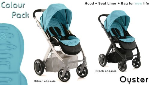 Oyster Stroller with Ocean Colour Pack, black chassis