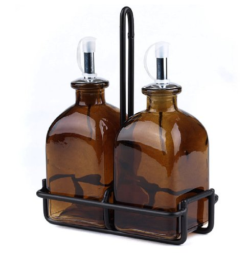 Roman Olive Oil & Vinegar Amber Glass Bottle Tabletop Kitchen Set ~ G52 Set of 2, Amber Colored Glass Olive Oil & Vinegar Spout Bottle Dispenser w/ Spout ~ Pourer ~ Cruet ~ Drizzler with Black Rod Iron Stand for Tabletop, Bar Top, Kitchen Counter or Patio.