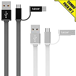 Tukzer 3.2ft / 1mtr Premium [Pack of 2] 2in1 Duo TYPE-C & MICRO USB High Speed Charge & Sync, Tangle Free, Reversible Design Flat cable [GREY-WHITE]