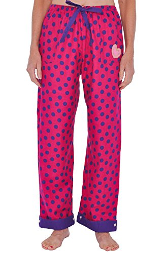Del Rossa Women's Flannel Pajama Pants, Flip Cuff Cotton Pj Bottoms, Medium Purple Dots on Pink (A0507N30MD) (Wide Leg Pajama Pants compare prices)