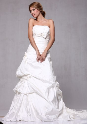 W66 Taffeta Pick-up A-line Strapless Bridal Wedding