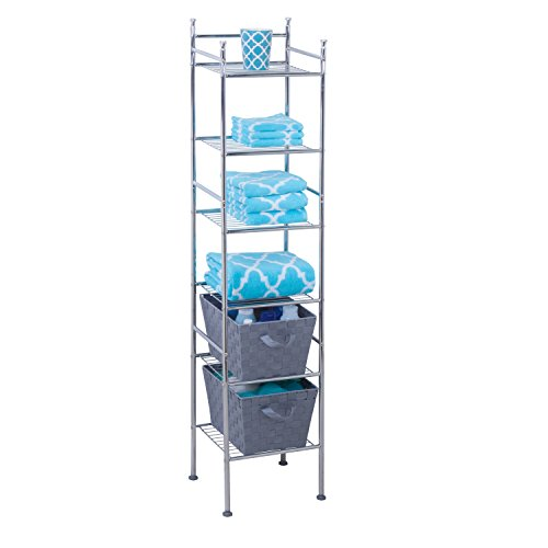 Find Bargain Honey-Can-Do BTH-03484 6 Tier Metal Tower Bathroom Shelf, 12.6 x 11.02 x 59.84″, Chrome