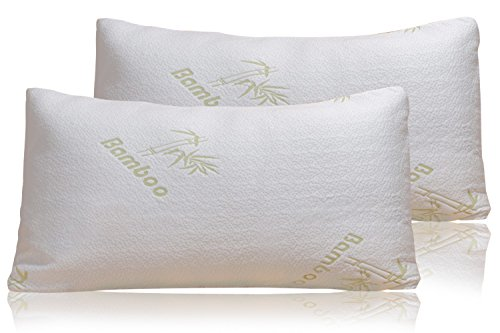 Bamboo Pillow - Firm Shredded Memory Foam Set of 2 - Stay Cool Removable Cover With Zipper - Hotel Quality Hypoallergenic - Relieves Snoring, Insomnia, Neck Pain, TMJ, and Migraines (How Many Days Is Standard Shipping)