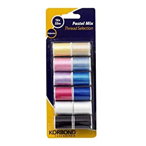Korbond 12 x 32 m Pastel Mix Thread Selection from Korbond