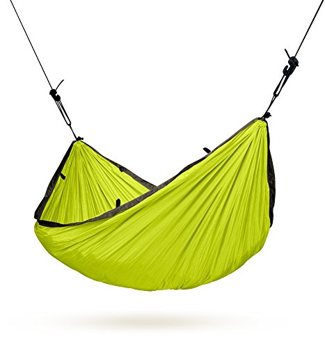 LA SIESTA Colibri Compact Ultra Light Parachute Silk and Travel Hammock with EasyAdjust Suspension, Green, Single