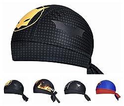 BaiTe Cycling Dew Rag with Batman Printed for Men Skull Caps Sweat Beanie Cool Head Wrap Doo Rag Summer Sport Helmet from BaiTe