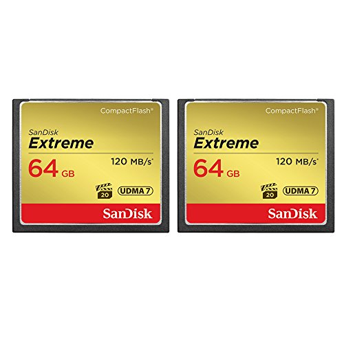2-Pack of Sandisk Extreme CompactFlash 64GB Memory Card, (Total 128GB) UDMA 7, Up to 120 MB/s Read Speed (SDCFXS-064G-A46) (64gb Sandisk Cf compare prices)