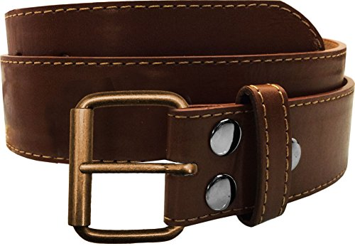 LUNA Top Quality Snap-On STITCH Bronze Buckle Thick Wide Leather Belt - Brown - 3X Large