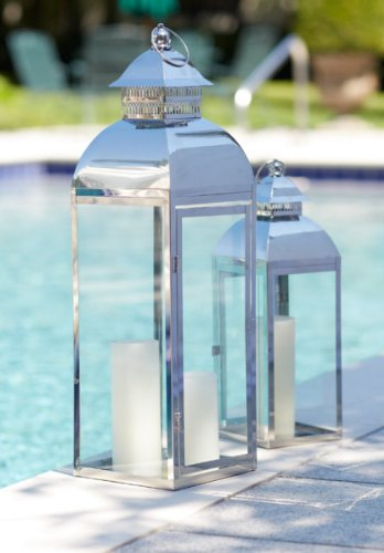 Set of 2 Vintage-Style Stainless Steel & Glass Pillar Candle Holder Lanterns 26″
