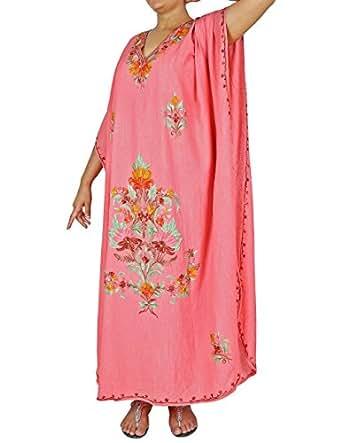 Amazon.com: Indian Embroidered Peach Kaftan Dress