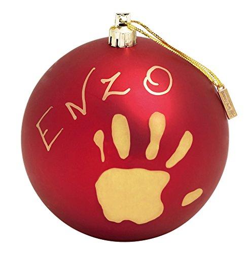 Baby Art 34120153 Pallina di Natale in Plastica, Set per Disegnare Impronta Bambino, Rosso Matto