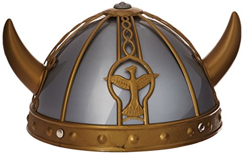 Smiffy's Men's Viking Helmet Pvc with Horns, Silver/Gold, One Size