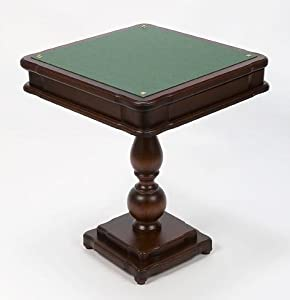 Italian Made 4-in-1 Pedestal Game Table w Mahogany Finish