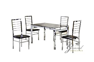 Eton Modern Glass Dining Table With 4 Chairs Set Dining
