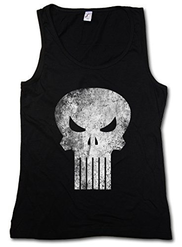 PUNISHER SKULL DONNA CANOTTA TANK TOP - Insignia Logo Symbol Hero Comic TV Punitore Movie Frank Castle PC Game Taglie S - XL