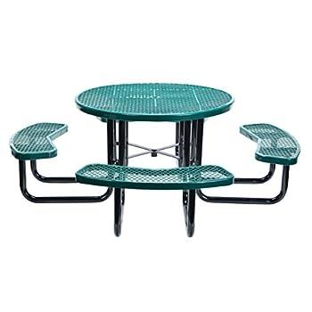 """Vestil PT-MX-RT-46-GN Metal Round Picnic Table, 81-1/4"""" Length, Green"""