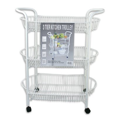 Cheap Kitchen Serving / Utility Cart, 3-Tier Shelves Rack, White w/ wheels (B003E6P4YO)