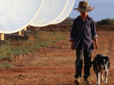 Boy with Dog Walking Past Solar Energy Dishes, New South Wales, Australia Giclee Poster Print by Oliver Strewe, 16x12