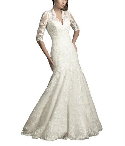 GEORGE BRIDE A-Line V-Shaped Neckline 3/4 Length Sleeves With Sheer Lace Details Gown Featuring Lace Applique Size 12 Ivory
