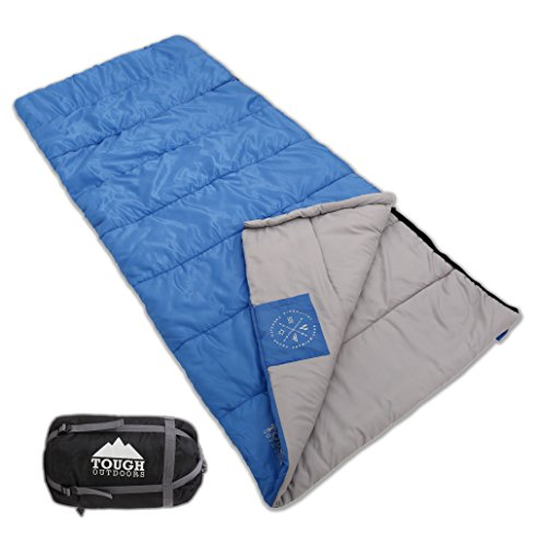Envelope-Sleeping-Bag-with-Compression-Sack-Perfect-for-Camping-Sleepovers-Comfort-Temperature-Range-40-60F-Fits-Adults-up-to-61-Ripstop-Waterproof-Shell-High-Loft-Fill-Construction
