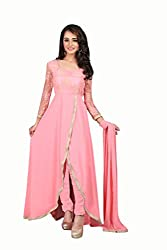BanoRani Pink Color Faux Georgette Moti Work Anarkali Full Sleeves Semi Stitched Gown