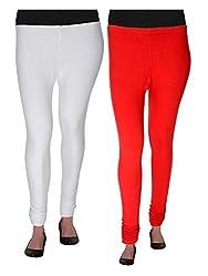 Agrima Fashion Women's Cotton Lycra Churidar Leggings (AFL-205-W-R, White, Red, Free Size, Pack of 2)