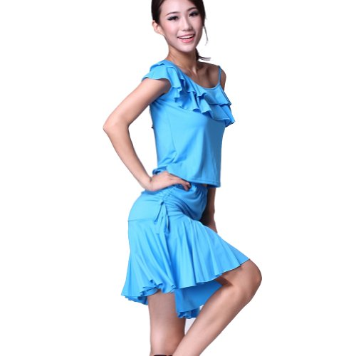Feimei Women's Latin Dance Top With Short Skirt