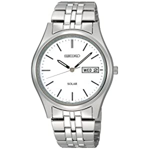 Click to buy Seiko Watches for Men: SNE031 Solar White Dial Watch from Amazon!