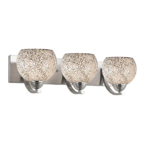 Woodbridge Lighting 13053STN-M00WHT 24-Inch by 6-1/2-Inch by 9-1/2-Inch North Bay 3-Light Bath Bar, Satin Nickel