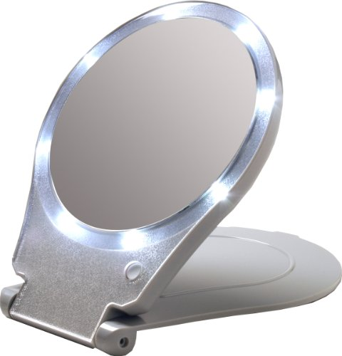 Travel Makeup Mirror Foldable Led Light 10x Magnifier No