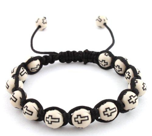 White with Black Cross Beaded Adjustable Bracelet Macrame Shamballah