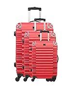 BlueStar Set de 3 trolleys rígidos BD-5997 (Rojo)