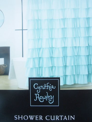 aqua ruffle curtains