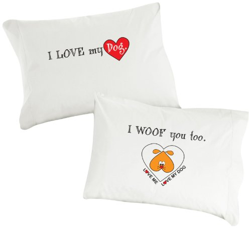 Dog Snorz Pillowcase, White, I Love My Dog, I Woof You Too