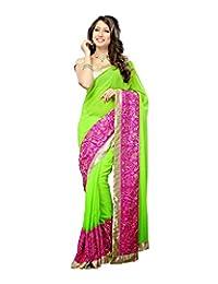 Bano Tradelink Women's Chiffon Saree (Green) - B00WI6ISD0