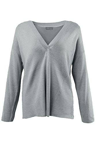 Ulla Popken Women's Plus Size Cross Over V-Neck Sweater Light Grey Marble 12/14 700472 13
