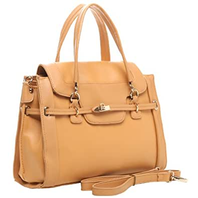 MG Collection WINONA Beige Office Doctor Tote Style Satchel Handbag