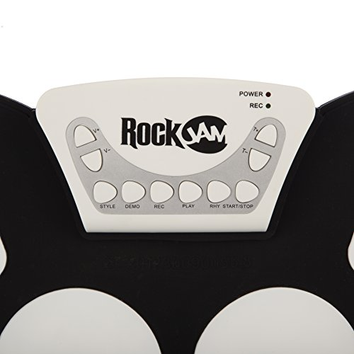 RockJam Portable Electronic Roll Up Drum Kit with Power Supply, Drum Sticks, and Foot Pedals
