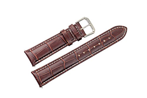 18mm-brown-grosgrain-leather-watch-straps-bands-replacement-for-mid-range-watches-with-white-contras
