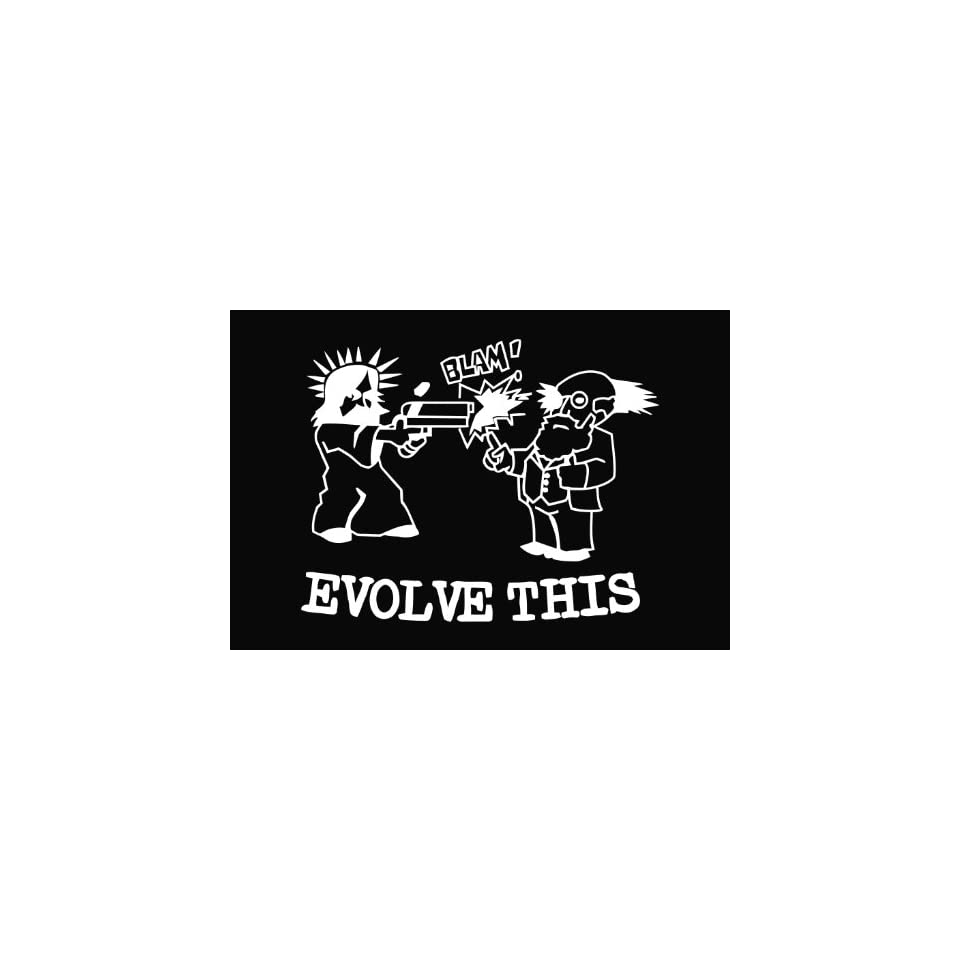 Evolve This Funny Vinyl Die Cut Decal Sticker 7 White