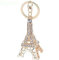 Di Grazia Creative Love Paris Eiffel Tower Shaped Zinc Plated Rhinestone Alloy Keychain Keyring Holder Pendant