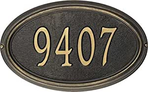 Concord Oval Address Plaque - Standard Lawn Plaque, Pewter and Silver Letters - PS