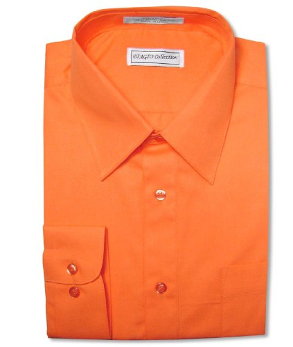 Biagio Men's 100% COTTON Solid BURNT ORANGE Color Dress Shirt sz 15.5 32/33