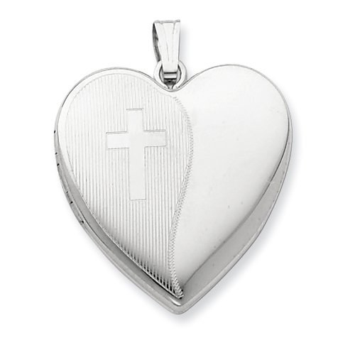 Sterling Silver 24mm with Cross Design Heart Locket