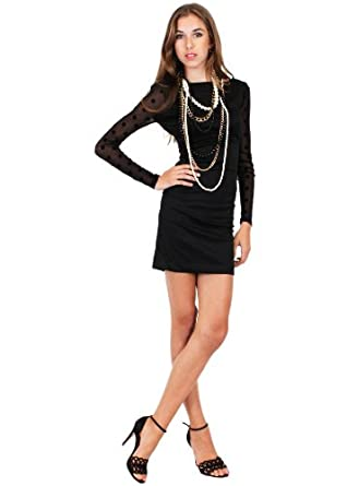 G2 Fashion Square Women's Open Back Sheer Polkadot Dress(DRS-EVP,BLK-M)