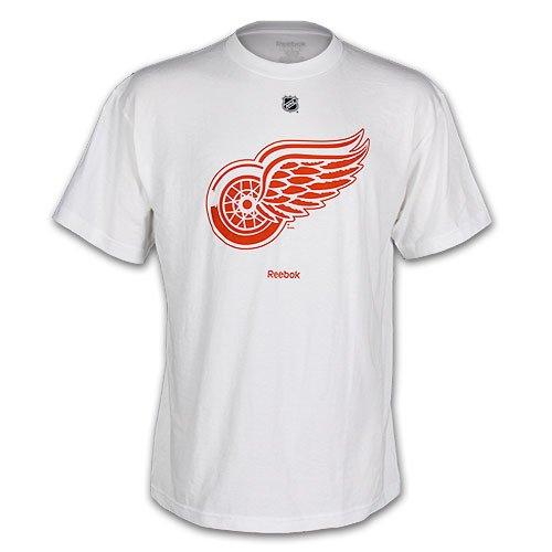 NHL Detroit Red Wings White Primary Logo T-Shirt Men's (Small)