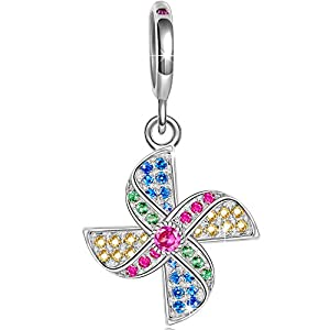Ninaqueen 925 Sterling Silver Windmill Multicolor Cubic Zirconia Dangle Charms Fit Pandora Bracelet